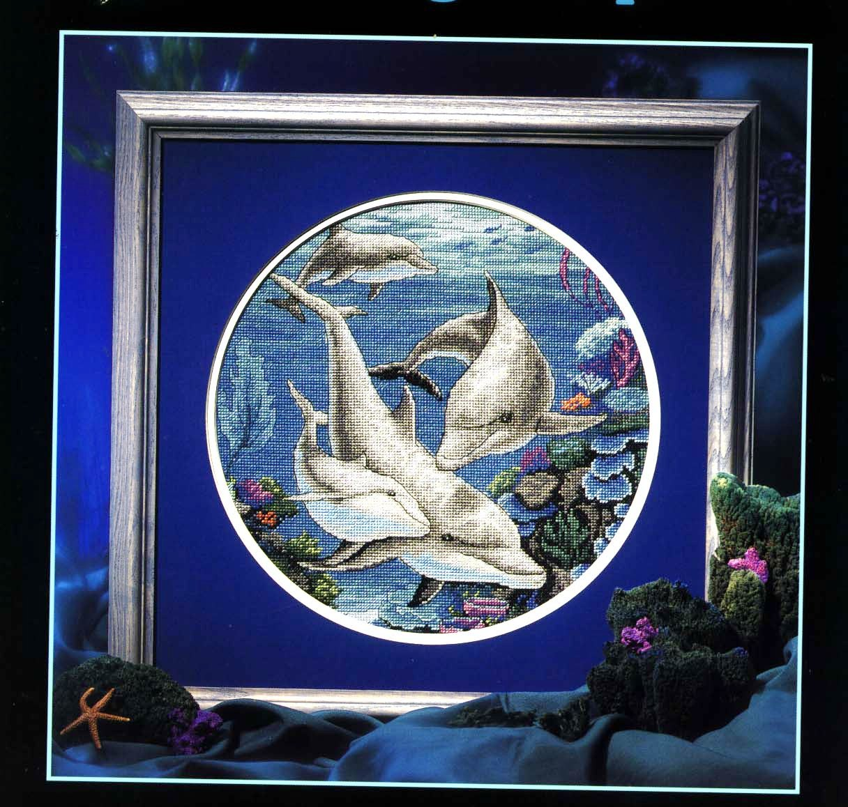 Вышивка крестом: Дельфины схема 9